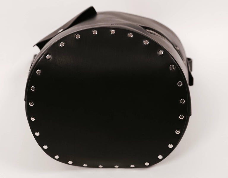 new CELINE Phoebe Philo black leather biker bag with silver grommets  In New Condition For Sale In San Fransisco, CA