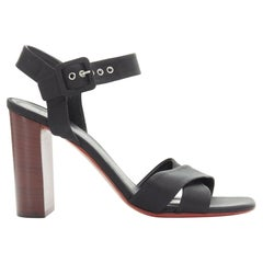 new CELINE PHOEBE PHILO black ribbon ankle strap wooden chunky heel sandal EU37