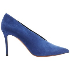 new CELINE PHOEBE PHILO blue suede V-neck vamp pointed toe pump EU39.5