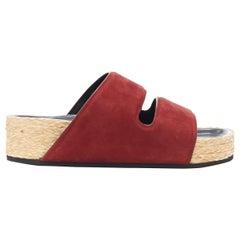 new CELINE PHOEBE PHILO burgundy red suede strap jute sole slides sandals EU38