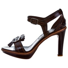 New Celine Phoebe Philo Collection Patent Leather Brown Platform Heels Sz 39
