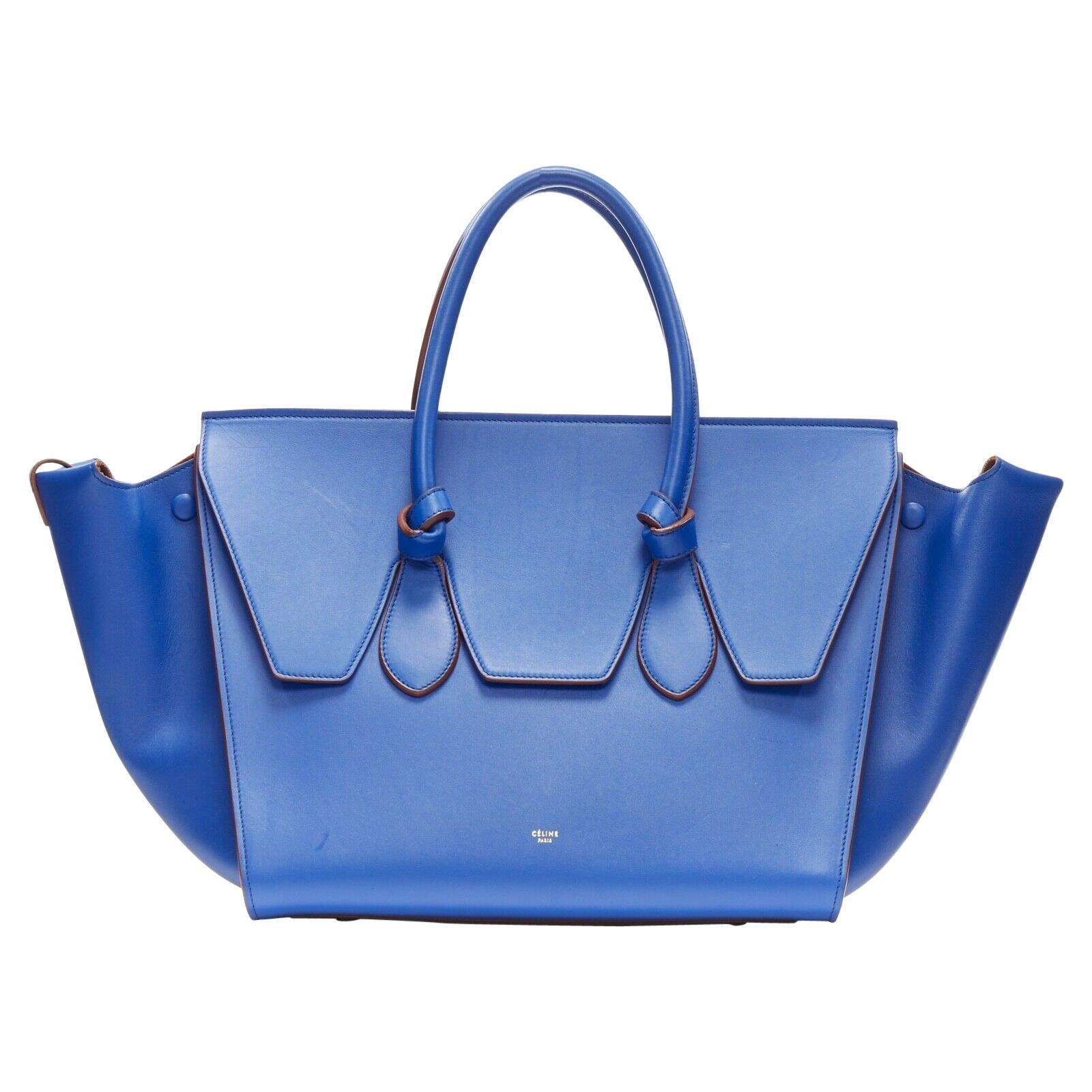 new CELINE PHOEBE PHILO Knot cobalt blue calfskin large shopper tote bag full