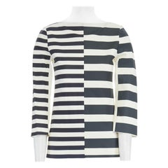 new CELINE PHOEBE PHILO white black green stripe print leather top FR34 US2 S