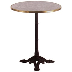 New Century Round Cast Iron Base with Marble Top Garden Table or Bistro Table