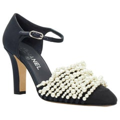new CHANEL 17A navy multi pearl embellished CC satin toe ankle strap heels EU39