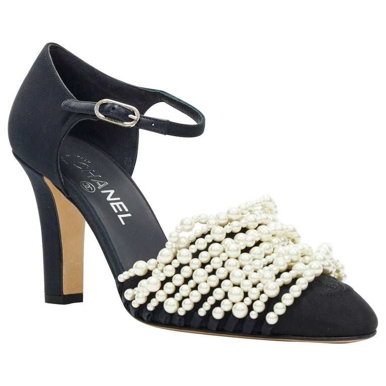 new CHANEL 17A navy multi pearl embellished CC satin toe ankle strap heels EU39 For Sale