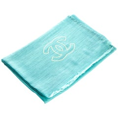 New Chanel Aqua Cashmere Large Shawl