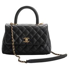 New Chanel Black Caviar Coco Top Handle Bag