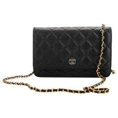 New Chanel Black Caviar Gold Cross Body Chain Bag