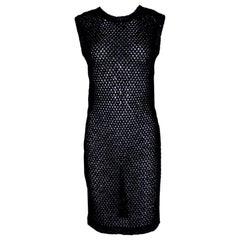 NEW Chanel Black Crochet Knit Black Dress