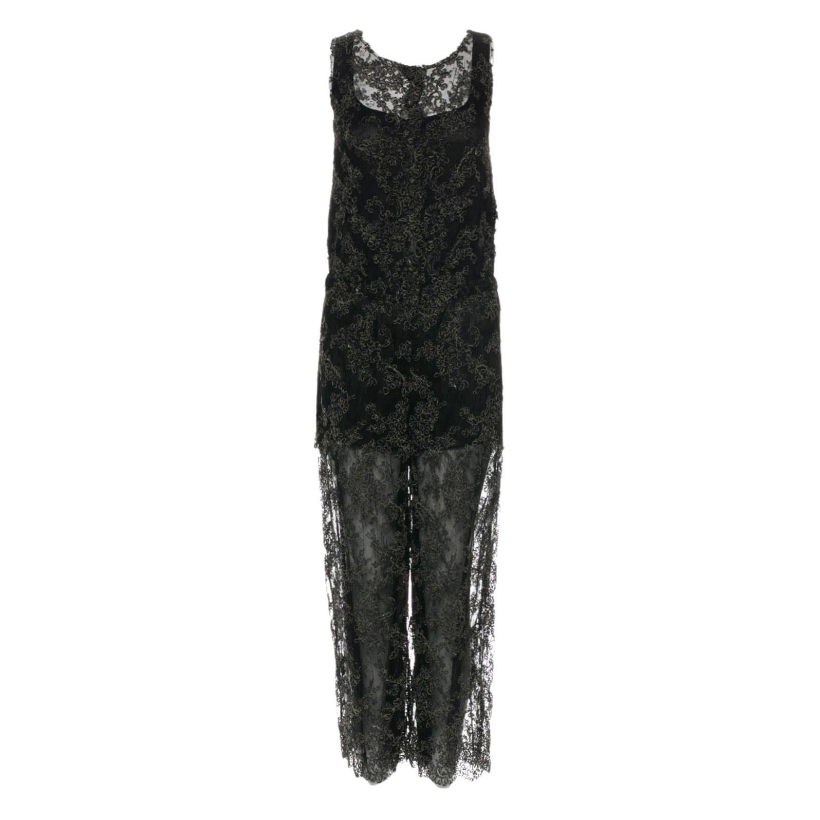 NEW Chanel Black Lace Embroidery Evening Jumpsuit Overall