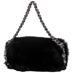 New Chanel Black Mini Lapin Evening Bag