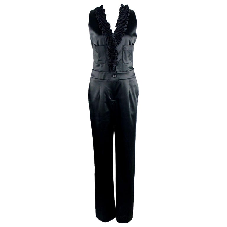 NEW Chanel Black Ruched Evening Tuxedo Smoking Style Jumpsuit Overall For Sale