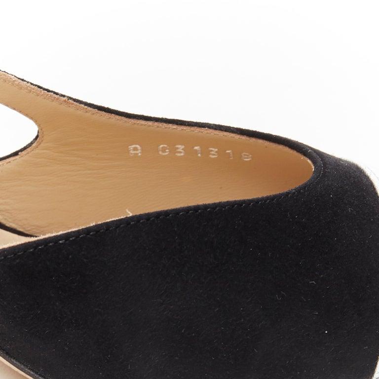 new CHANEL black suede silver toe cap CC logo mid block heel slingback pump EU39 5