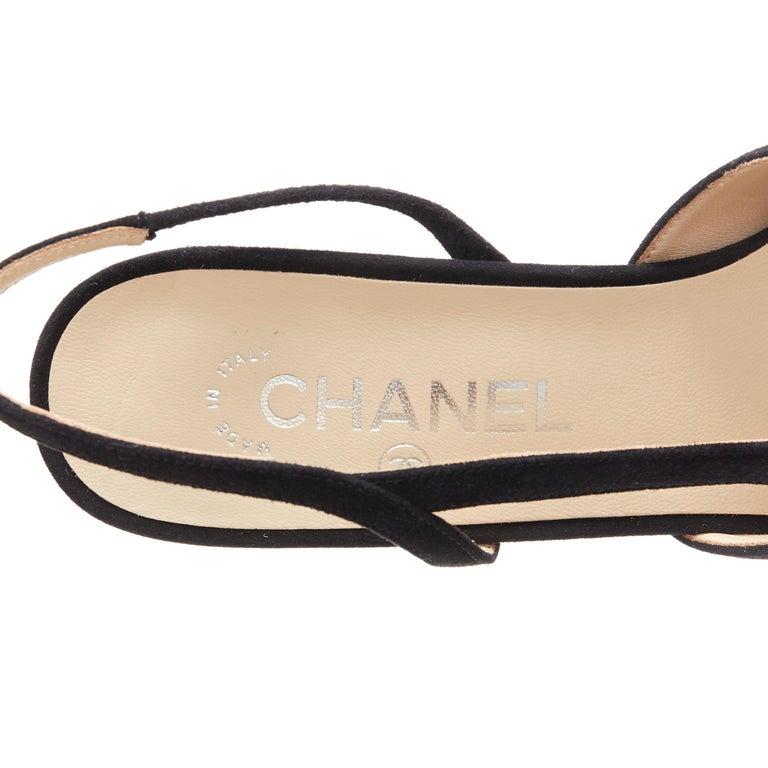 new CHANEL black suede silver toe cap CC logo mid block heel slingback pump EU39 6