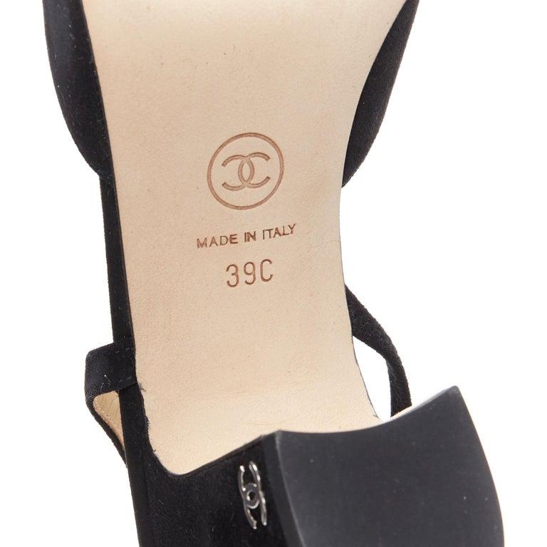 new CHANEL black suede silver toe cap CC logo mid block heel slingback pump EU39 7
