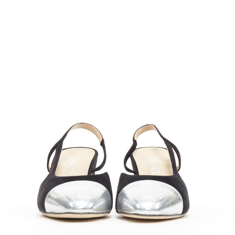 Black new CHANEL black suede silver toe cap CC logo mid block heel slingback pump EU39