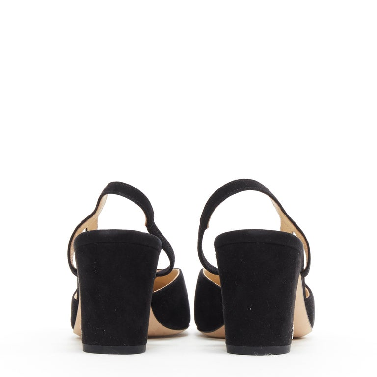 Women's new CHANEL black suede silver toe cap CC logo mid block heel slingback pump EU39