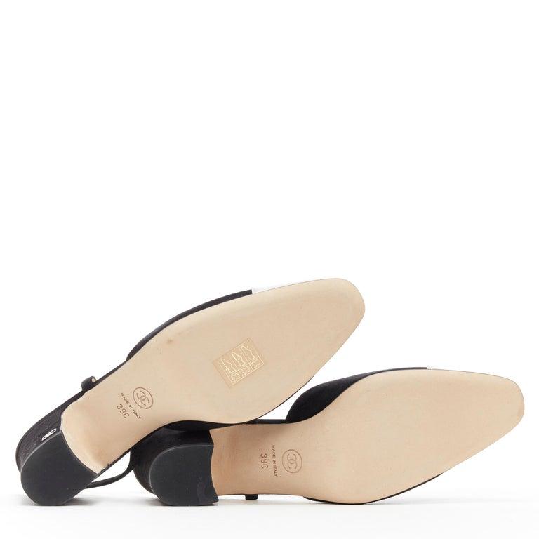 new CHANEL black suede silver toe cap CC logo mid block heel slingback pump EU39 1