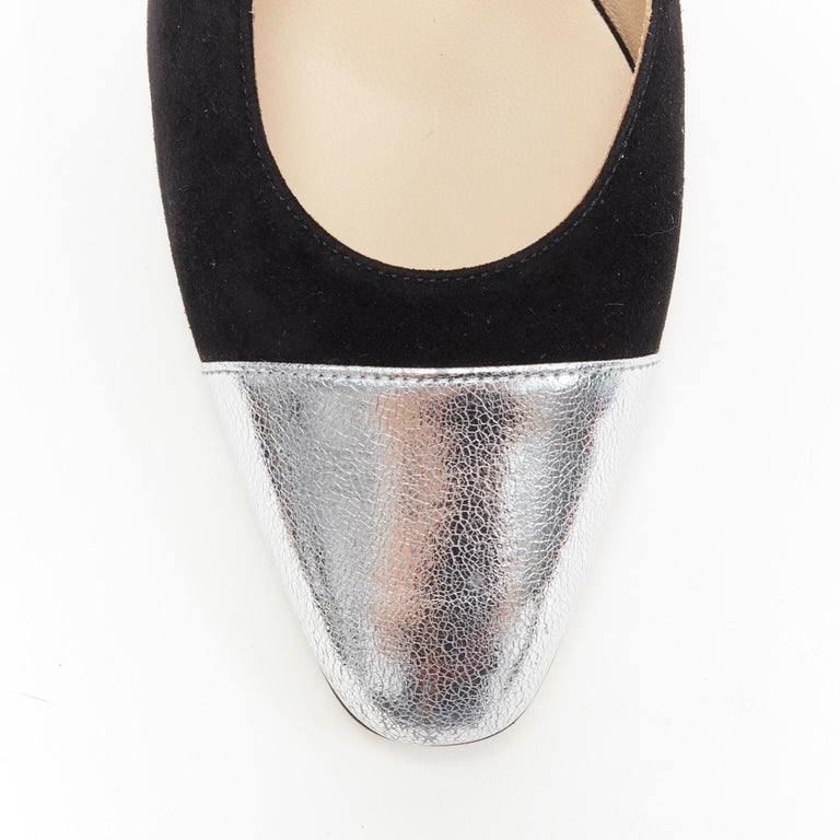 new CHANEL black suede silver toe cap CC logo mid block heel slingback pump EU39 2