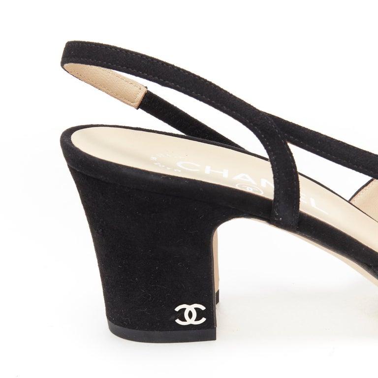 new CHANEL black suede silver toe cap CC logo mid block heel slingback pump EU39 3