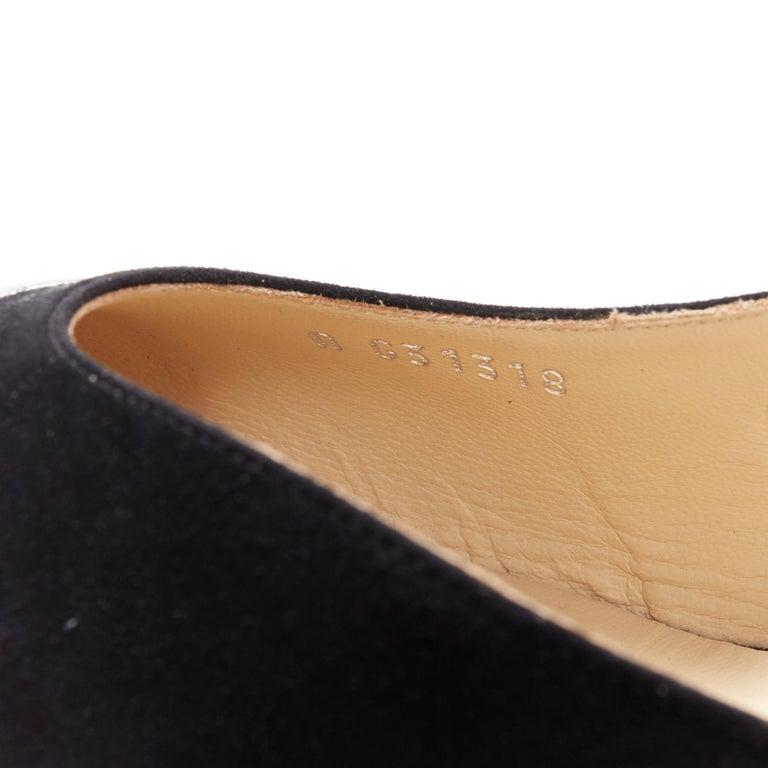 new CHANEL black suede silver toe cap CC logo mid block heel slingback pump EU39 4