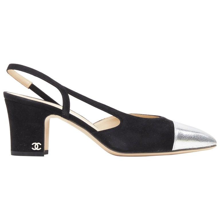new CHANEL black suede silver toe cap CC logo mid block heel slingback pump EU39