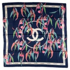 "New Chanel Blue Oversize 54"" Silk Scarf"