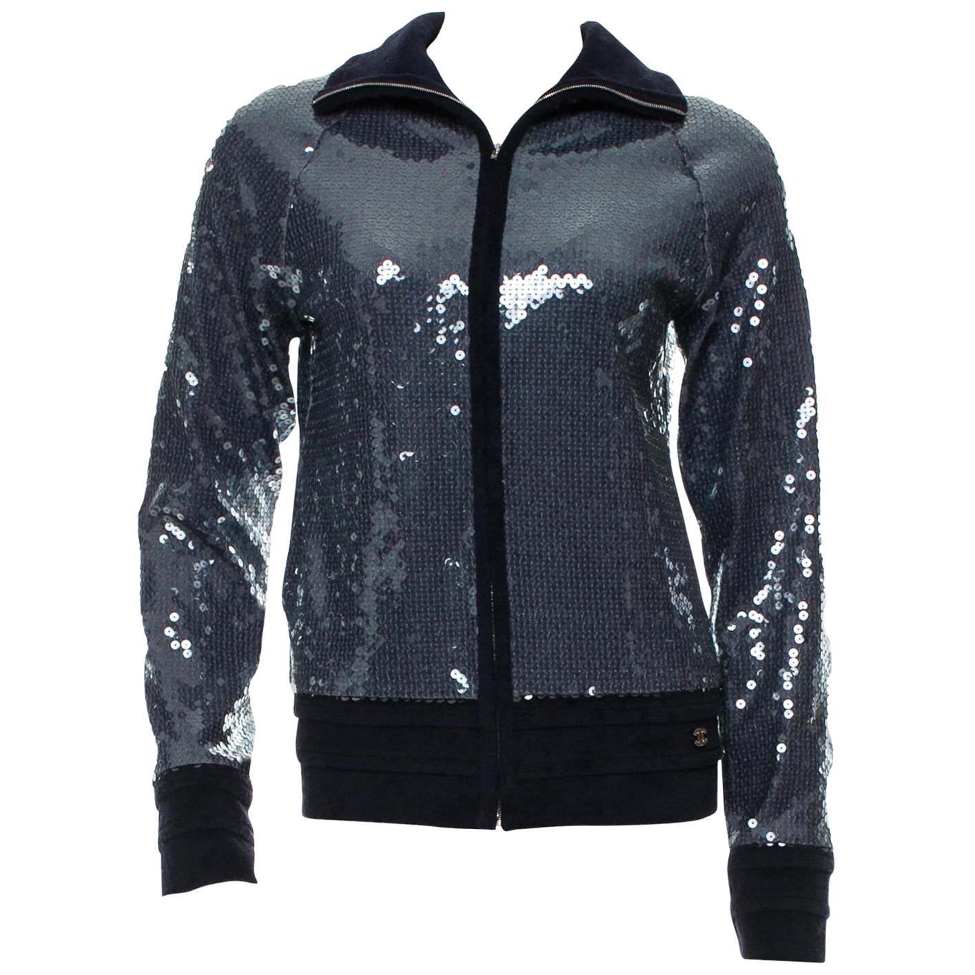 NEW Chanel Blue Terry Sequin Terrycloth Jacket Blazer Blouson