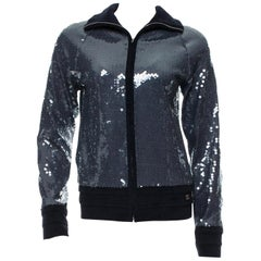 NEW Chanel Blue Terry Sequin Terrycloth Jacket Blazer Blouson