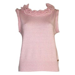 NEW Chanel Blush Pink Cashmere Mix Ruched Knit Pullover Top with Ruffle Trim