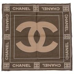 New Chanel Brown Cotton Logo Small Scarf