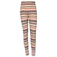 NEW Chanel Cashmere Fair Isle Intarsia Knit CC Logo Leggings Pants