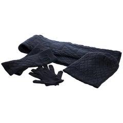 NEW Chanel Cashmere Hat Gloves Scarf Set