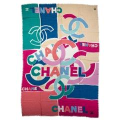 New Chanel Cashmere Multicolor Logo Shawl