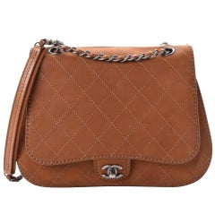 New Chanel Classic Flap Large Jumbo Quilted Saddle Brown Nubuck Leather Bag