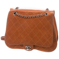 Chanel Classic Flap Large Jumbo Quilted Saddle Brown Nubuck Leather Bag