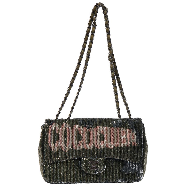 New Chanel Coco Cuba Green Flap Bag For Sale
