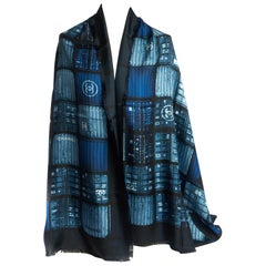 New Chanel Containers Blue Silk Shawl