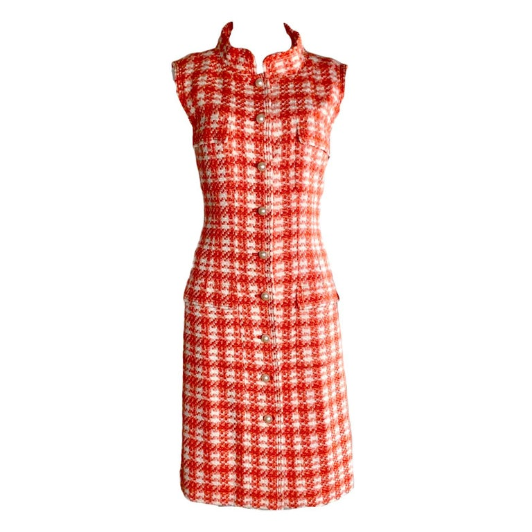 Orange NEW Chanel Coral & Ivory Fantasy Tweed Dress with Camellia Brooch For Sale