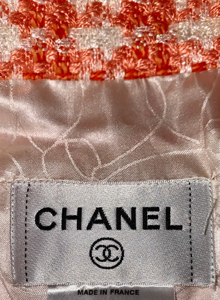 NEW Chanel Coral & Ivory Fantasy Tweed Dress with Camellia Brooch For Sale 1