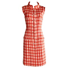 NEW Chanel Coral & Ivory Fantasy Tweed Dress with Camellia Brooch