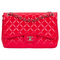 New Chanel Coral Patent Jumbo Double Flap Bag