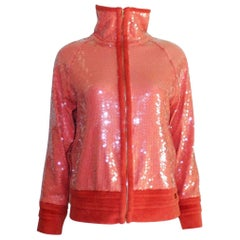 NEW Chanel Coral Sequin Terrycloth Jacket
