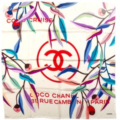 New Chanel Cream Logo Leaves Silk Scarf