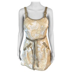 New Chanel Cruise 2013 Runway Gold Brocade Leather Trimmed Open Back Dress