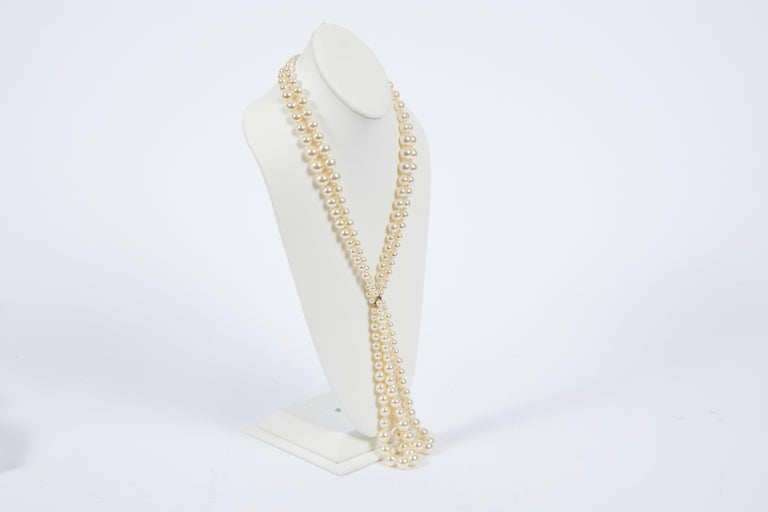 Chanel brand new in box double pearl necklace with center drop. Pearl drop 7