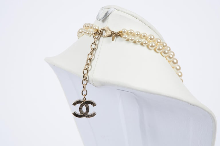 New Chanel Faux Pearl Multistrand Necklace In New Condition For Sale In West Hollywood, CA
