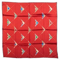 New Chanel Geometric Logo Red Silk Scarf