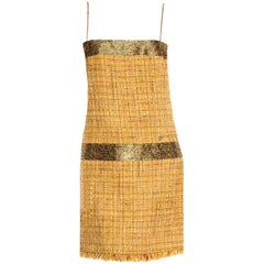 NEW Chanel Gold Metallic Fantasy Tweed Fringe Dress with Crystal Details